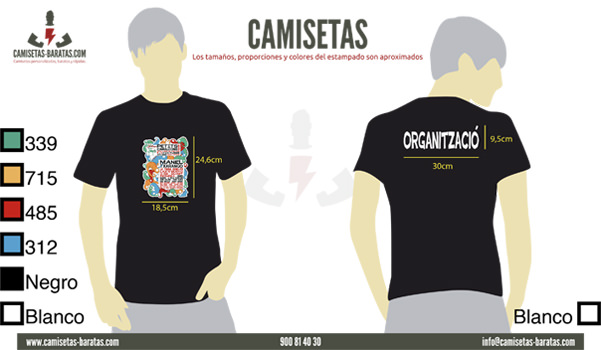 Muestra digital de la camiseta negra serigrafiada para Petits Camaleons