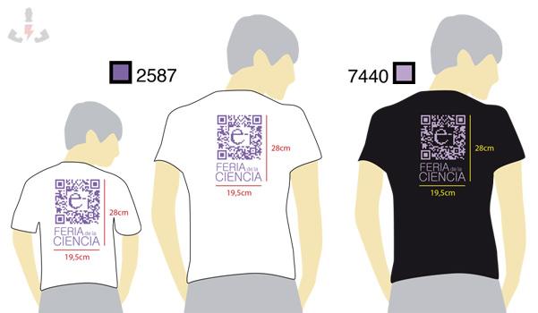 Muestra virtual de la camiseta serigrafiada con un código QR para la feria de la ciencia de Sevilla