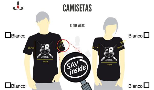 Muestra virtual de la camiseta personalizada en serigrafía para CloneWars