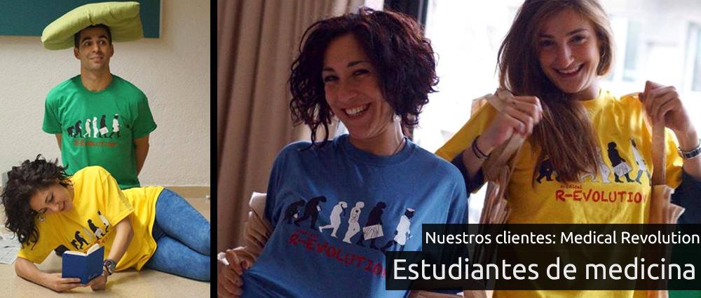 Estudiantes de medicina de Bellvitge posando con sus camisetas personalizadas