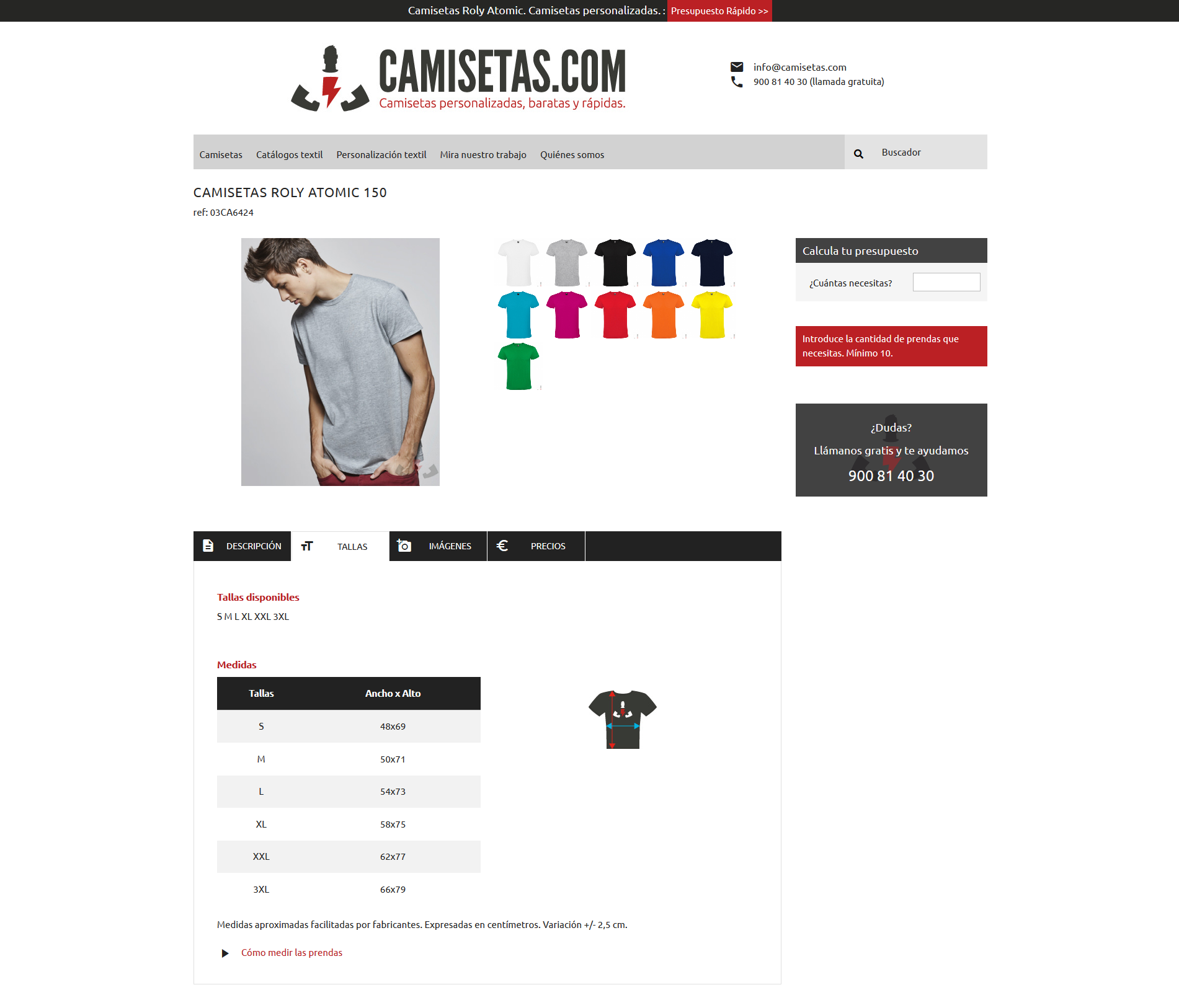 Captura medir camisetas